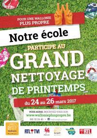 Opération Grand Nettoyage de Printemps 2017 en Région Wallonne