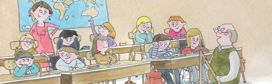 Dessin classe avec élèves en chaise roulante  Charlotte Meert